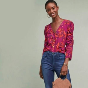 Anthropologie Maeve Jourdain Floral Blouse Small